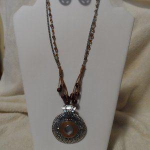 Unique Pendant Necklace and Earring Set